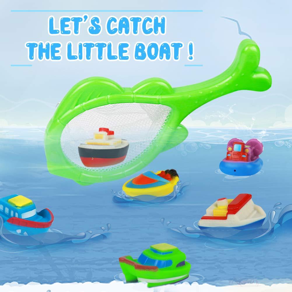 Barca Giocattolo Giocattoli da Bagno Gioco per Doccia Giochi Pscina Bambini- Galleggianti Giocattoli con Giochi Rete da Pesca 6 Barche per Bambino Piu 6 Mesi