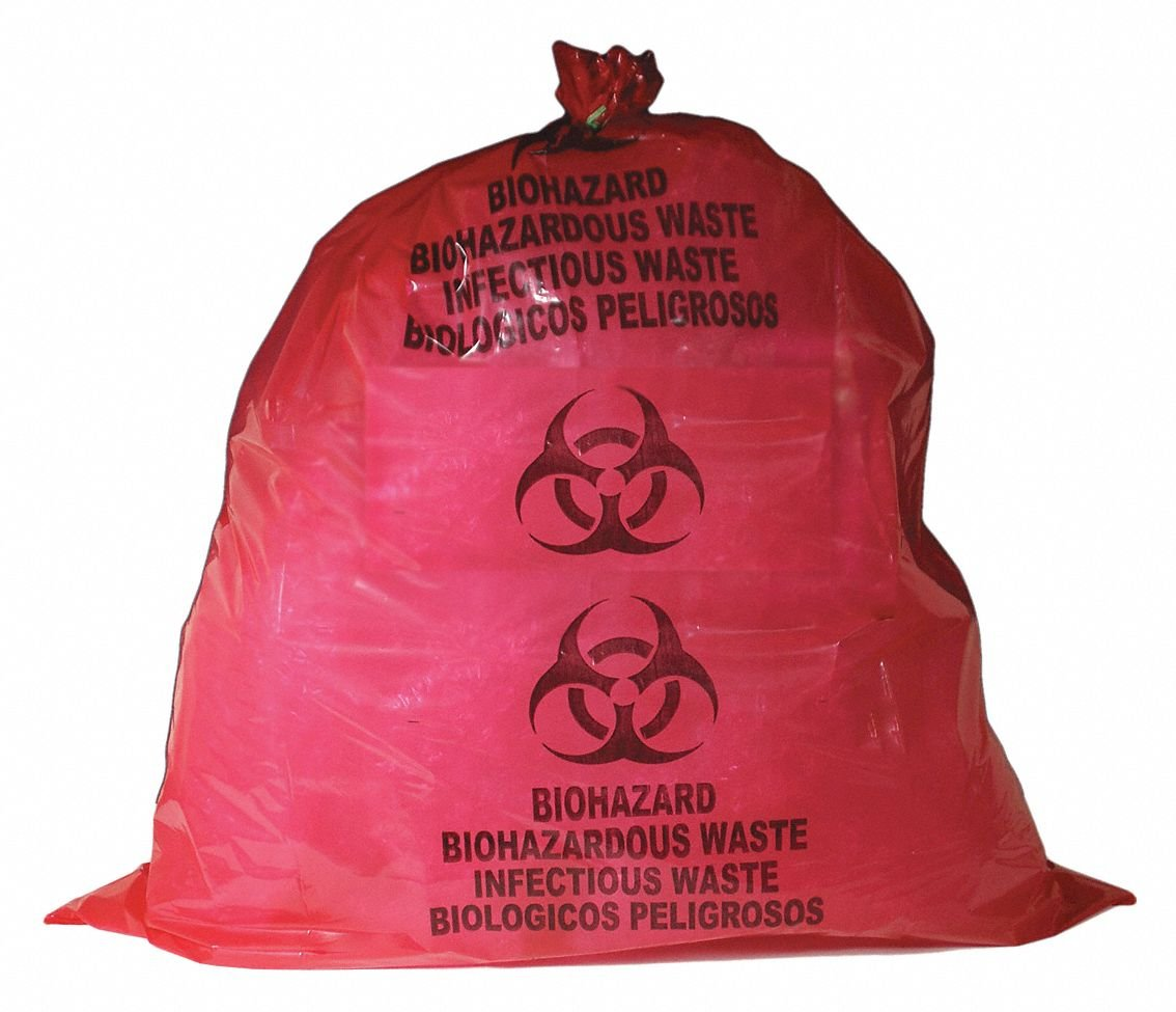 55 gal. Red/Black Biohazard Bags, Heavy Strength Rating, Flat Pack, 100 PK