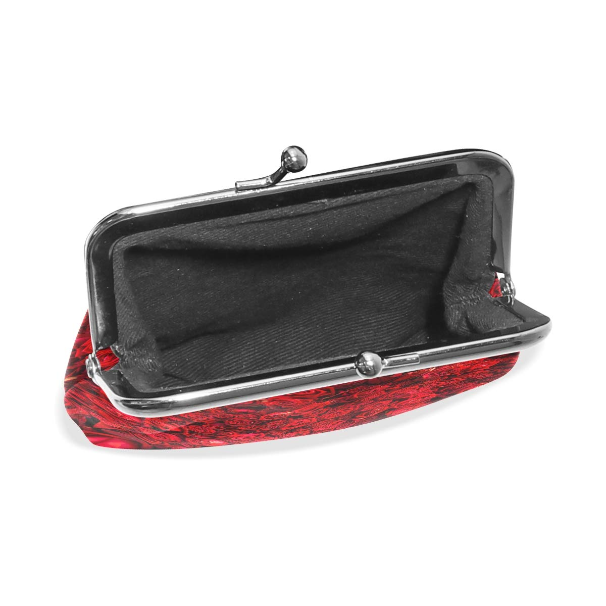 Women Wallet Purse Natural Red Roses Clutch Bag Leather