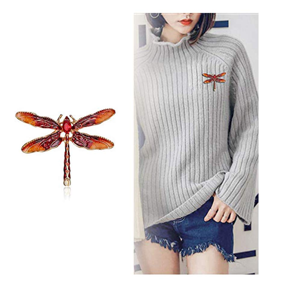 Dwcly Pretty Enamel Red or Blue Dragonfly Brooch Pin Charm Women Girls Lapel Pin Jewelry (red)