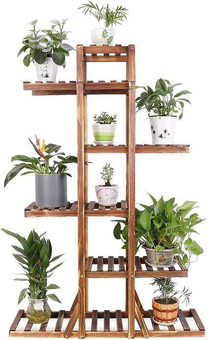 unho Soporte de Madera para Plantas Estantería para Macetas Flores con 6 Niveles Estantería Decorativa para Jardín Balcón Exterior Interior ...