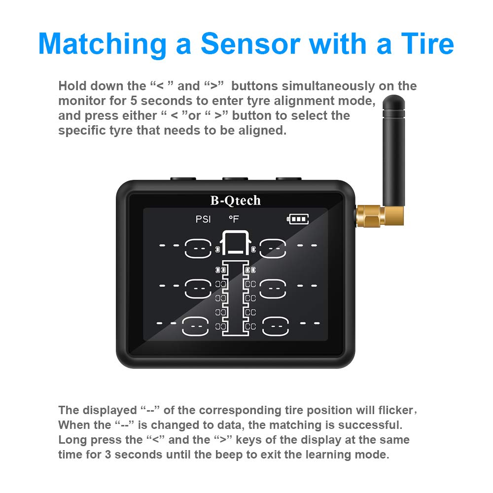 B-Qtech 3.15 inch Wireless RV Truck TPMS Tire Pressure Monitoring System with TPMS 6 Sensors for RVs MotorHomes Truck Tow Trailers Motorcoaches Bus LCD Display Support Max 22 Tyres(0~232PSI) by B-Qtech (Image #7)