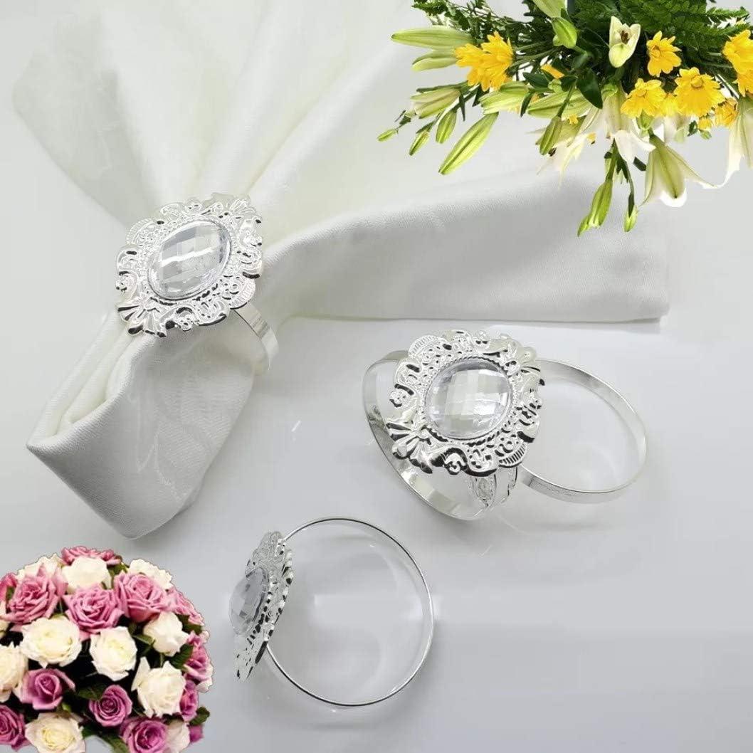 Anillos de servilleta Bling para la decoración de la cena de la boda del partido Juego de 10 servilletas de diamantes de imitación