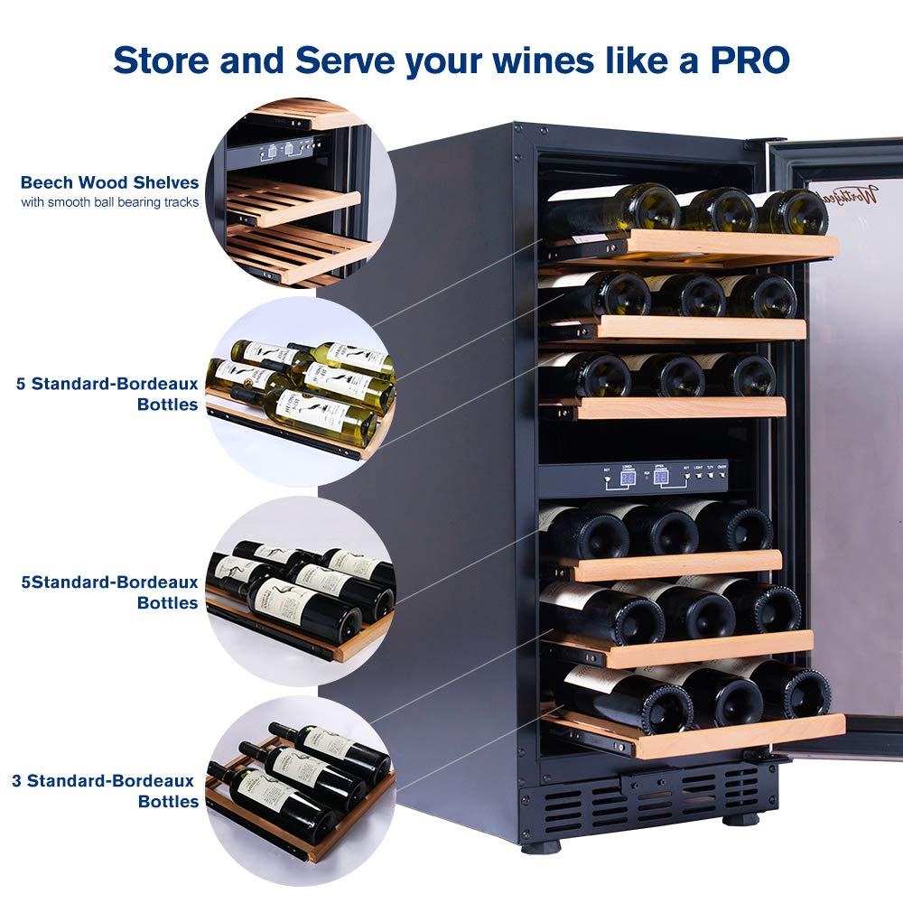 Worthyeah 15 Inch Wine Cooler Dual Zone Built-in or Freestanding Compressor Wine Refrigerator with Double-Layer Tempered Glass Door,Child Safety Lock and Compressor Protection Grid by Worthyeah (Image #4)