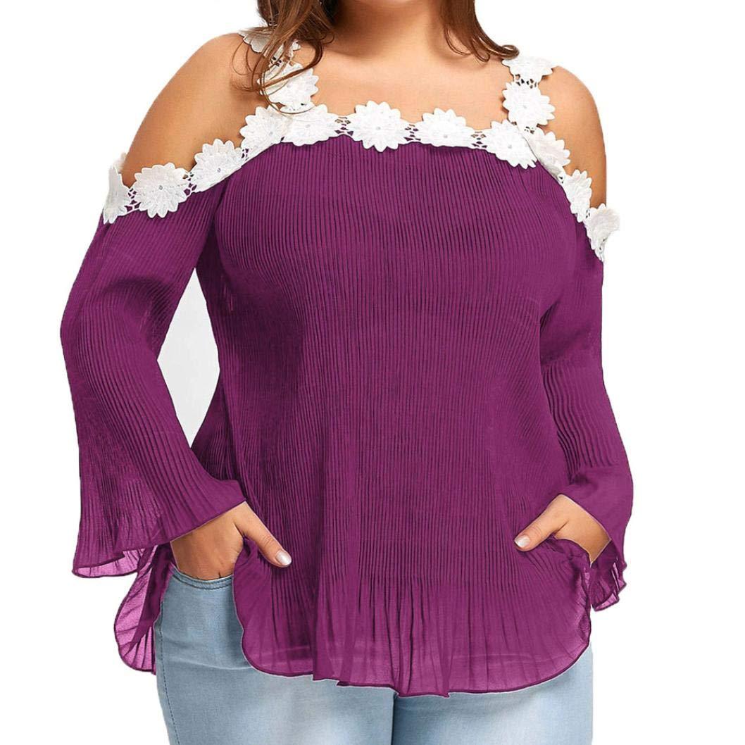 Yesmile Camisas Blusa Hombre Apliques Tallas Grandes adornadas con Manga Larga para Mujer Blusa con Hombros Descubiertos: Amazon.es: Ropa y accesorios