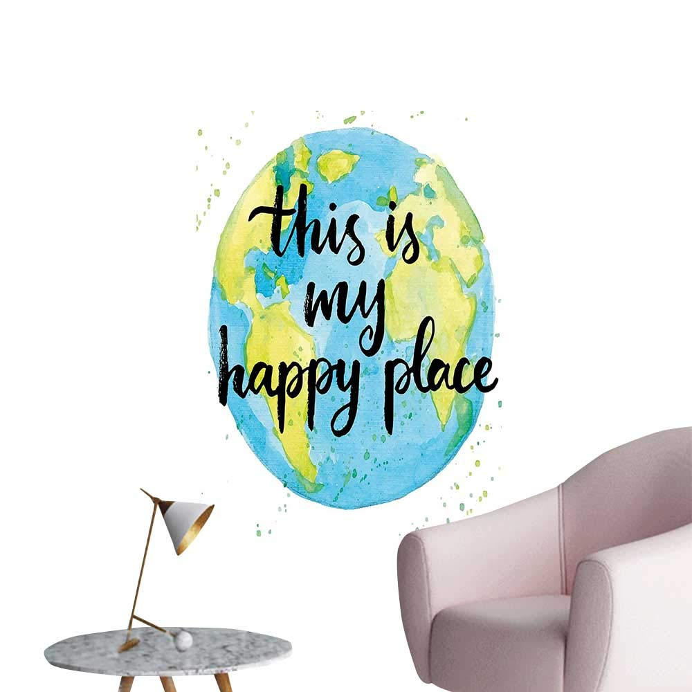 Wall stickers for living room like world print in blue and green with this is my happy place vinyl wall stickers print 12w x 16l amazon com