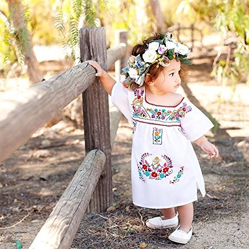 ca17f044175 Newborn Toddler Baby Girls Ethnic Embroidery Floral Dress Long ...