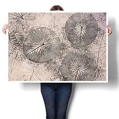"SCOCICI1588 DIY 3D Painting Concrete Floors with Design Leaves Painting,20"" W x 12"" L Home Wall Decor(Frameless)"