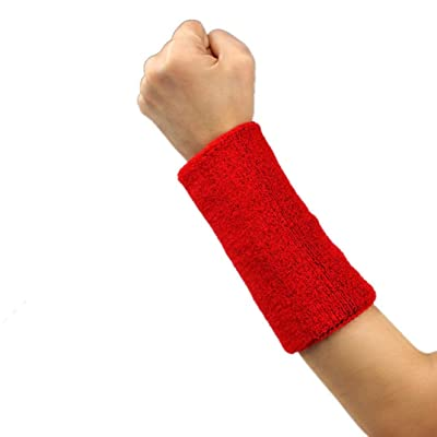 Bestpriceam 1 PCS Unisex Cotton Sweat Band Sweatband Wristband Arm Band for Basketball Tennis Gym Yoga (Red, 6 Inch)
