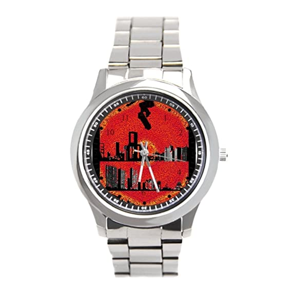 Barato Relojes de acero inoxidable Parque Longboard acero inoxidable relojes para hombre: Amazon.es: Relojes