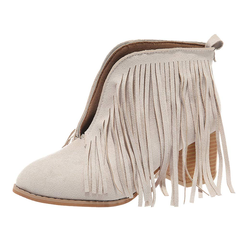 LONGDAY ⭐ Flats-Shoes Womens Western Fringe Booties Cowboy Low Heel Fall Ankle Short Boots Shoes Tassels Chukka Boot Beige by LONGDAY-Sandals & Sneakers