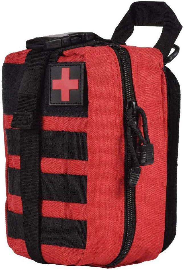 Wolike Bolsa de primeros auxilios táctica médica vacía EMT kit de supervivencia de emergencia para viajes al aire libre, Molle Rip-Away EMT para uso médico multipropósito riñonera militar (rojo)