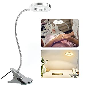 SKYMORE LED Book Light, Portable Clip Lamp, USB Rechargeable, 2 Brightness(Warm/White) with Eye Protection, Perfect for Night Reading, Tattoo, Nail Art & Eyebrow Make Up Tattoo Lamp