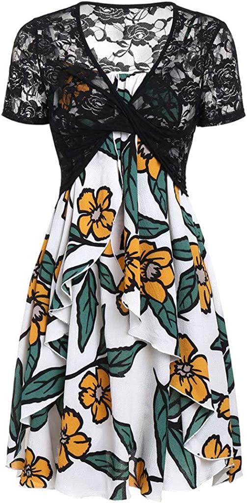 KYLEON Women Dresses Floral Lace Short Sleeve Bow Knot Cover Up Tops Summer Casual Beach Mini Dress Sundress for Women