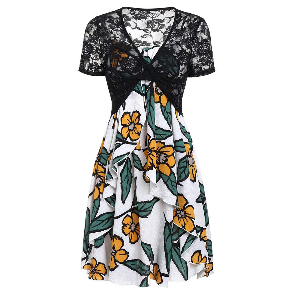 Yvelands Damen Sommerkleider Set Mode Kurzarm Bogen Knoten Verband Top Sunflower Print Minikleid Anzüge T-Shirt