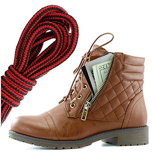 DailyShoes Womens Military Lace Up Buckle Combat Boots Ankle High Exclusive Credit Card Pocket, Black Red Tan Pu