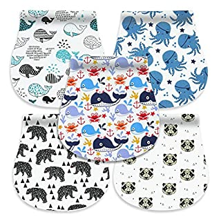 Cherub Baby Burp Cloths for Boys, 100% Organic Cotton Soft Absorbent Triple Layer Burping Rags for Newborns, 5-Pack