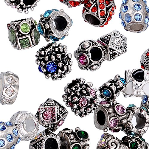 - RUBYCA 100Pcs Mix Lot Assorted Crystal Silver Color Tibetan Metal Charm Beads Jewelry Making