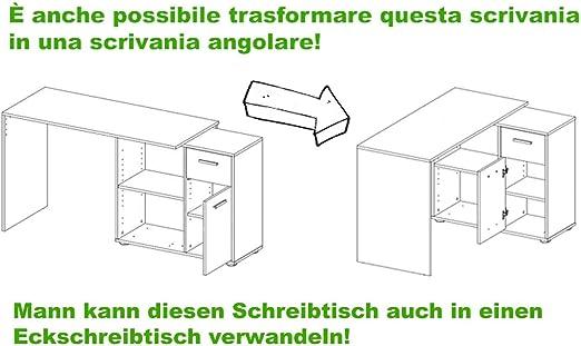 Disponibile in 2 colorazioni Diverse Scrivania ad Angolo in Legno Laminato Avanti Trendstore Dimensioni Lap 117x74x83 cm Elsa Bianco