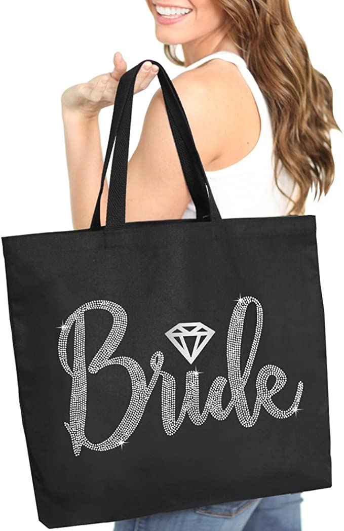 Giant Canvas Bride Tote Bag 18 X 14 Diamond Motif Rhinestone Totes Bridal Shower Gifts And Wedding Accessories