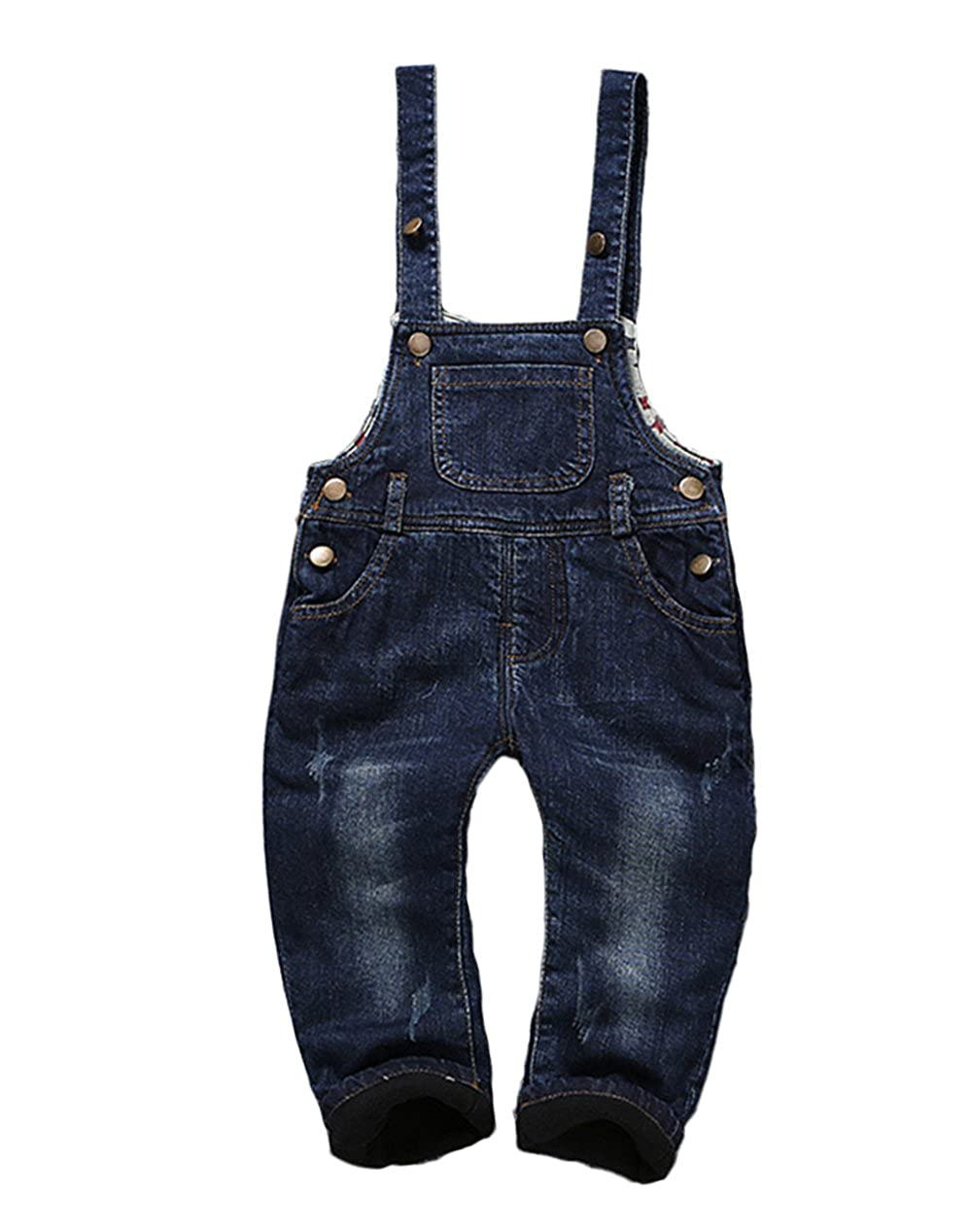 Kidscool Baby Winter Denim Dark Blue Adjustable Soft Fleece Overalls Big Pocket