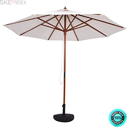 SKEMIDEX    Adjustable 9FT Wooden Patio Umbrella Wood Pole Outdoor Garden  Sun Shade Beige