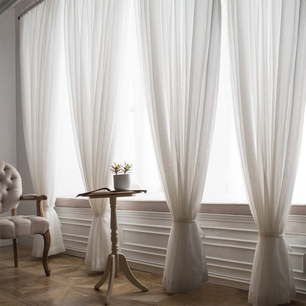 FuCoin Premium White Sheer Curtains Elegant Window Sheers Voile 54 Inch Wide x 95 Inch Long White 2 Panels