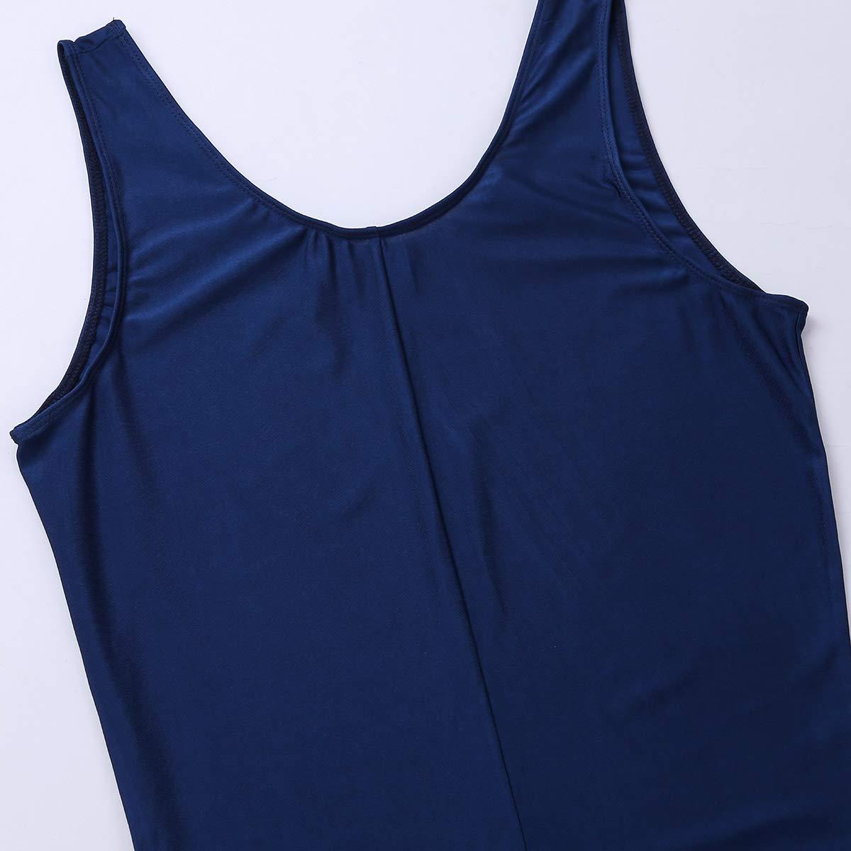 Freebily Mens Spandex One Piece Unitard Bodysuit Sleeveless Stretch Skin-Tight Leotard Dancewear