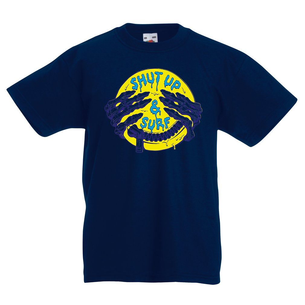 lepni.me Kids Boys/Girls T-Shirt Surf Clothing Shut up and Surf - Art Wear, Surfer Clothes Surfing Humor Quotes (14-15 Years Dark Blue Multi Color)