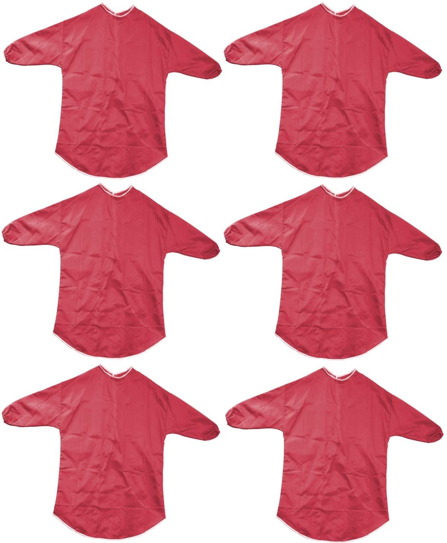 Tablier de peinture et jeu à manches longues pour enfants en rouge de 70 cm, âge de 6 à 7 ans