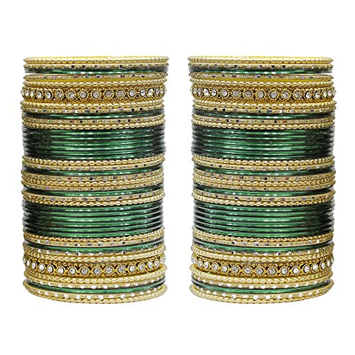MUCH-MORE 86 Bangles Set of Multi Colour Amazing Collection of Bangles Set for Womens (B-Green, 2.6)