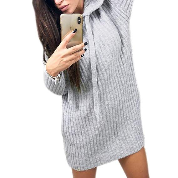 Honghu Sudadera con Capucha Mujer Sudaderas de Punto Sudaderas largas Vestido de suéter: Amazon.es: Ropa y accesorios