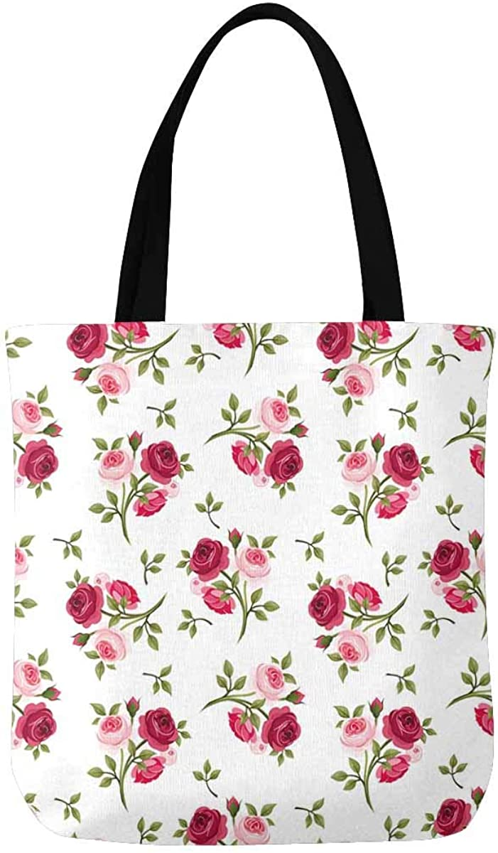 Red and Pink Roses Canvas Tote Bag Handbag Purse for Women