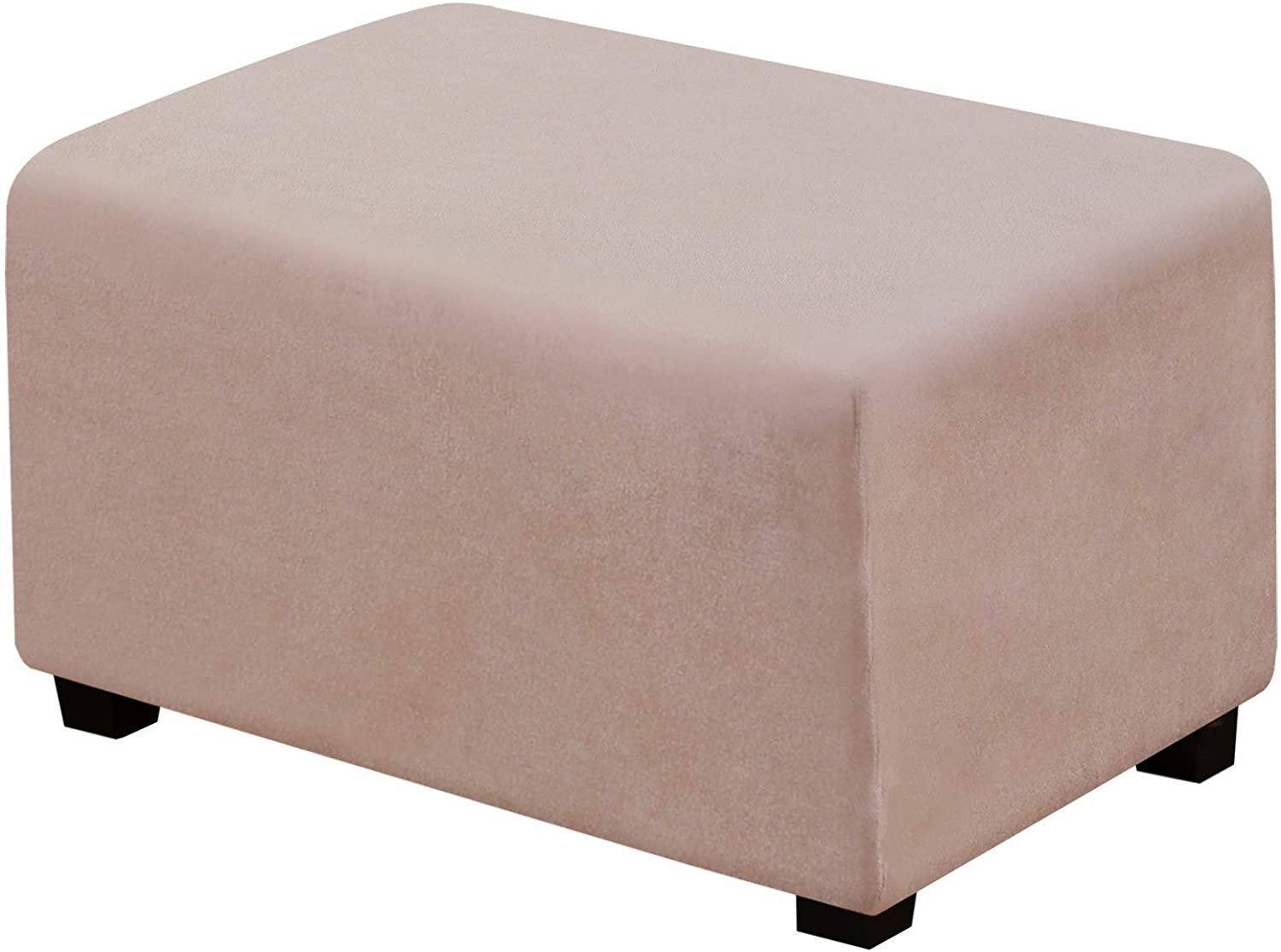 Suede Ottoman Cover Ottoman Slipcovers Removable Footstool Protector Velvet Plush 1 Piece Water Repellent Furniture Protector with Elastic Bottom, Machine Washable(Ottoman Large, Sand)
