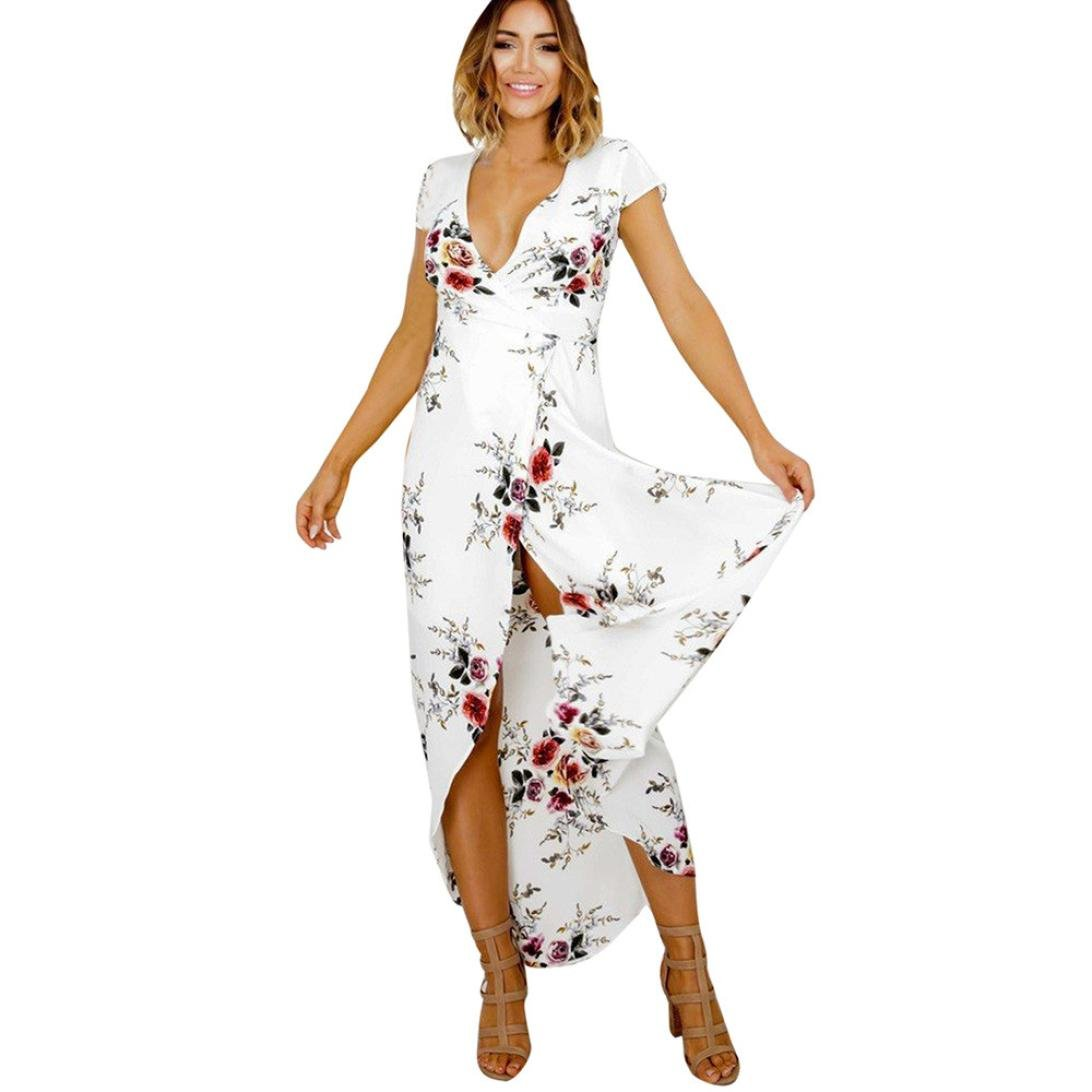 Sunward Women Sexy Short sleeve Deep V-Neck Slit Beach Floral Print Maxi Dress (XL, White)