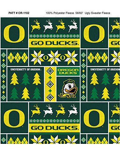 (University of Oregon Fleece Blanket Fabric with Christmas Sweater Print-)