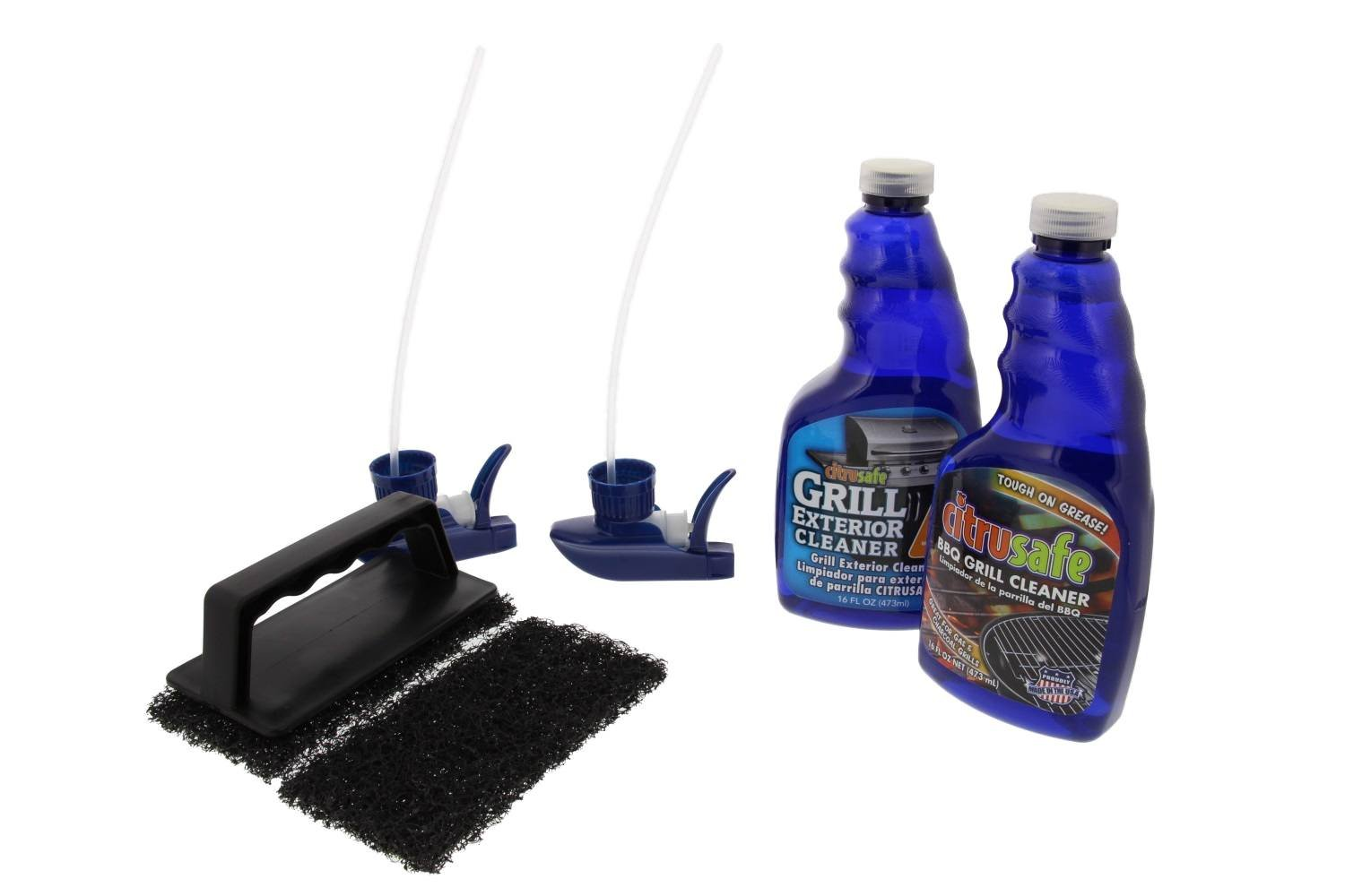 Grill Cleaning Kit - BBQ Grid And Grill Grate Cleanser, Exterior Cleaner, and Scrubber By Citrusafe (16 oz each) by Bryson Industries