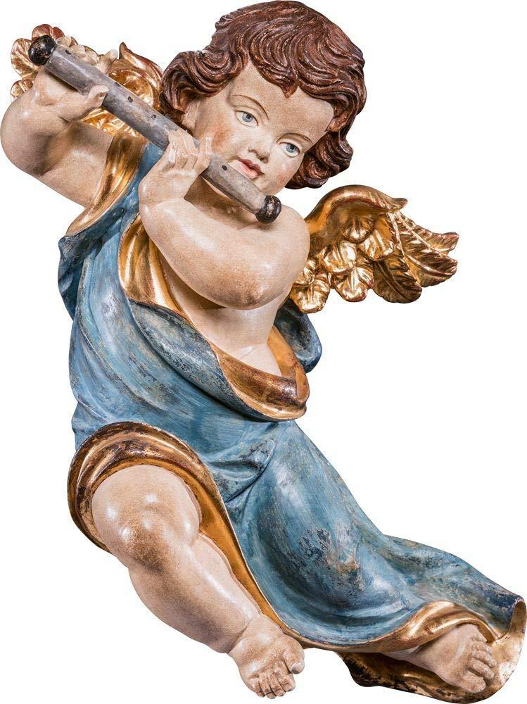 Holzschnitzerei Oswald Amort Marienengel mit Flöte   55 cm   Natur - Unbemalt EchtGold Antik 22 cm