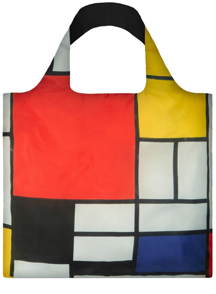 LOQI Reusable Tote Bag, Mondrian Print, United States Carry-On PM.CO