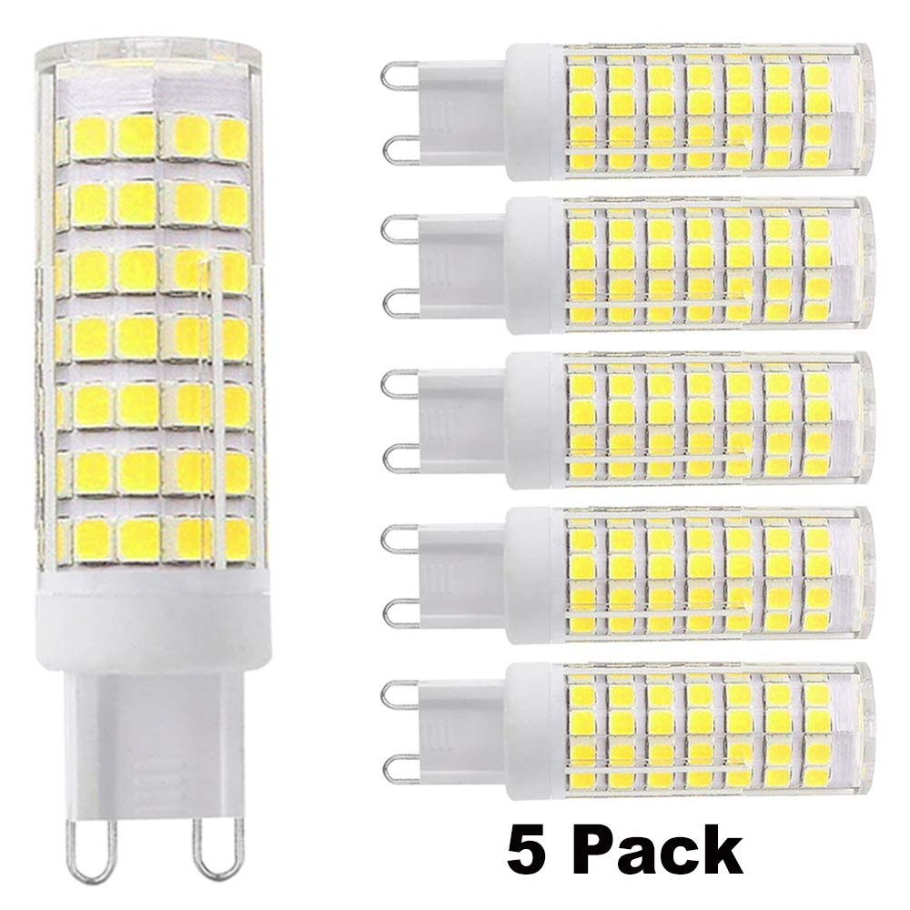 [5-Pack] G9 LED Bulb,Daylight 6000K,7.5W Replacement 80W 75W 60W Halogen Bulb,G9 Bi Pin Base,360 Omni-Direction Beam Angle,Dimmable,AC 110V/120V/130V