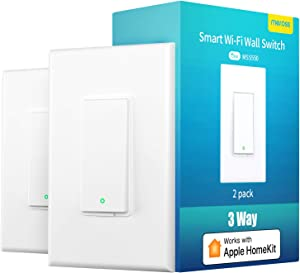 3 Way Smart Switch, meross Smart Light Switch Supports Apple Homekit, Siri, Alexa, Google Assistant & SmartThings, 2.4Ghz WiFi Light Switch Neutral Wire Required, Remote Control Schedule, 2 Pack