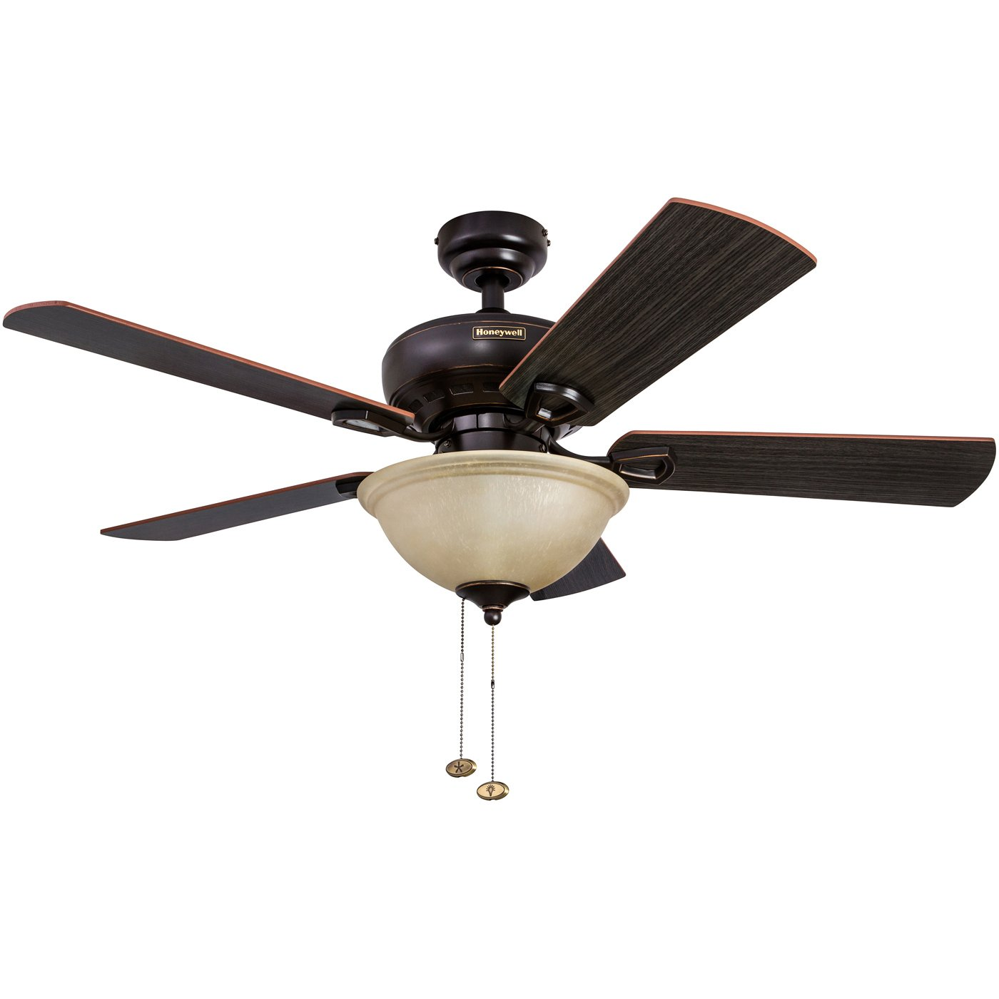 Honeywell Woodcrest 44-Inch Ceiling Fan with Sunset Bowl Light, Five Reversible Cimarron/Ironwood Blades, Oil-Rubbed Bronze