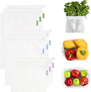 9 Pack Reusable Mesh Produce Bags, Washable Grocery Bags-100% Made from Recycled Plastic Bottles -FDA Food Grade, BPA Free - with Colorful Tare Weight Tags ( Natural White -3 Large, 3 Medium, 3 Small)