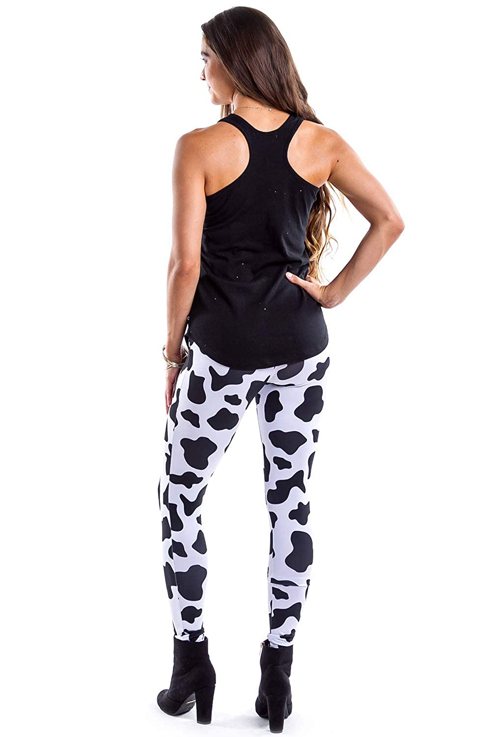 Tipsy Elves Womens Cow Leggings Adult Cow Print Tights Cow Halloween Costume