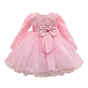 feiXIANG Vestido de niña de Manga Larga Arco de Encaje de Flores Vestido de tutú Vestido Falda Princesa Vestido de Dama de Honor Fiesta de cumpleaños ...
