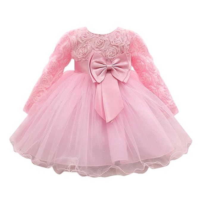 Vestido Bebé Niñas, Modaworld Vestidos de Fiesta de Boda de Princesa de Manga Larga para bebé niña Vestido de cumpleaños Bebés niña Recien Nacido