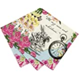 Talking Tables Truly Alice Floral Dainty Cocktail Napkins for a Tea Party, Multicolor (20 Pack)