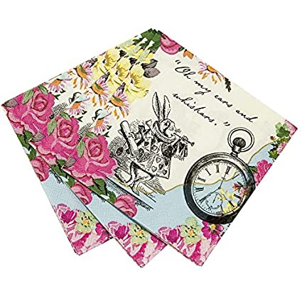 Talking Tables Alice In Wonderland Cocktail Napkins Mad Hatter Tea Party Paper Mixed Colours Pack Of 20 25 X 25cm 10 X 10