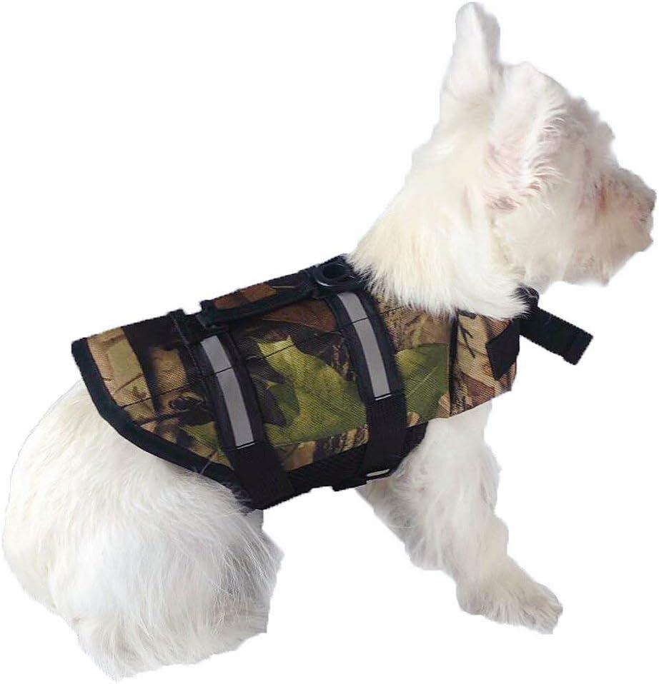 GabeFish Dog Life Jacket Vest Safety Clothes Collar Harness Saver Pet Swimming Preserver Reflective Strip Swimwear LightCamo 2X-Large