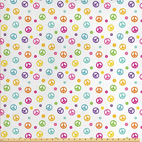 Ambesonne Groovy Decorations Fabric by The Yard, Peace Symbol Old Lifestyle Sign Slogan Celebration Merry Jolly Theme Artful, Decorative Fabric for Upholstery and Home Accents for $<!--$14.90-->
